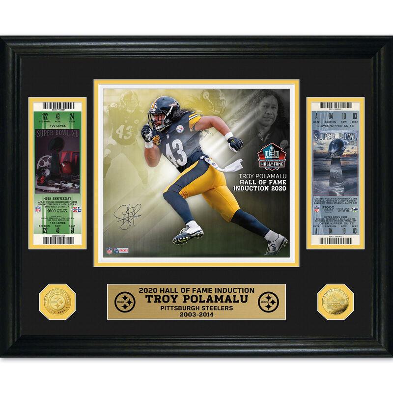 Troy Polamalu Hall of Fame Autograph Frame 4528 0435 a main