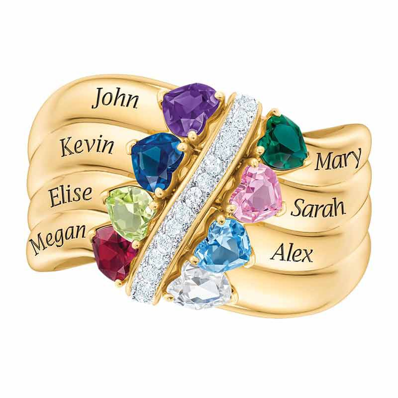 Many Hearts One Family Birthstone Ring 6521 002 3 2