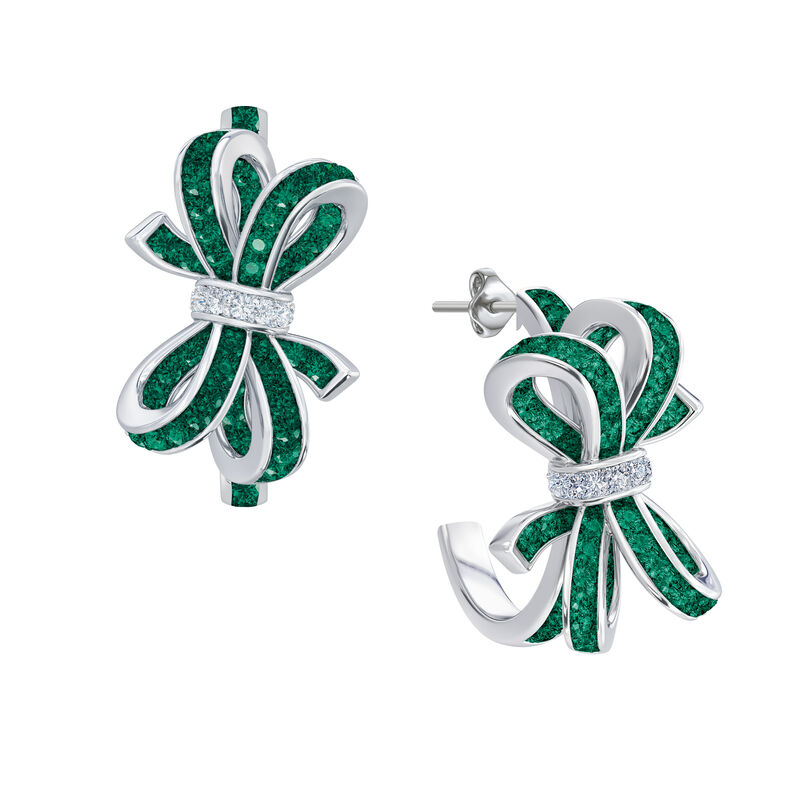 Birthstone Diamond Bow Earrings 1876 0066 e may