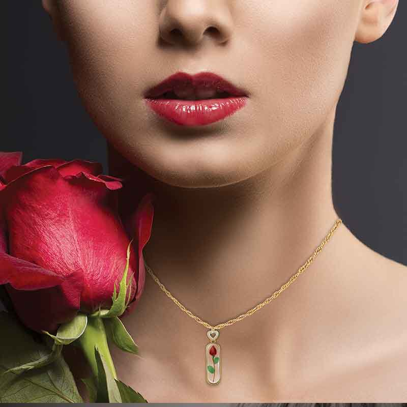 Rose Bud Personalized Diamond Pendant 1170 009 3 4