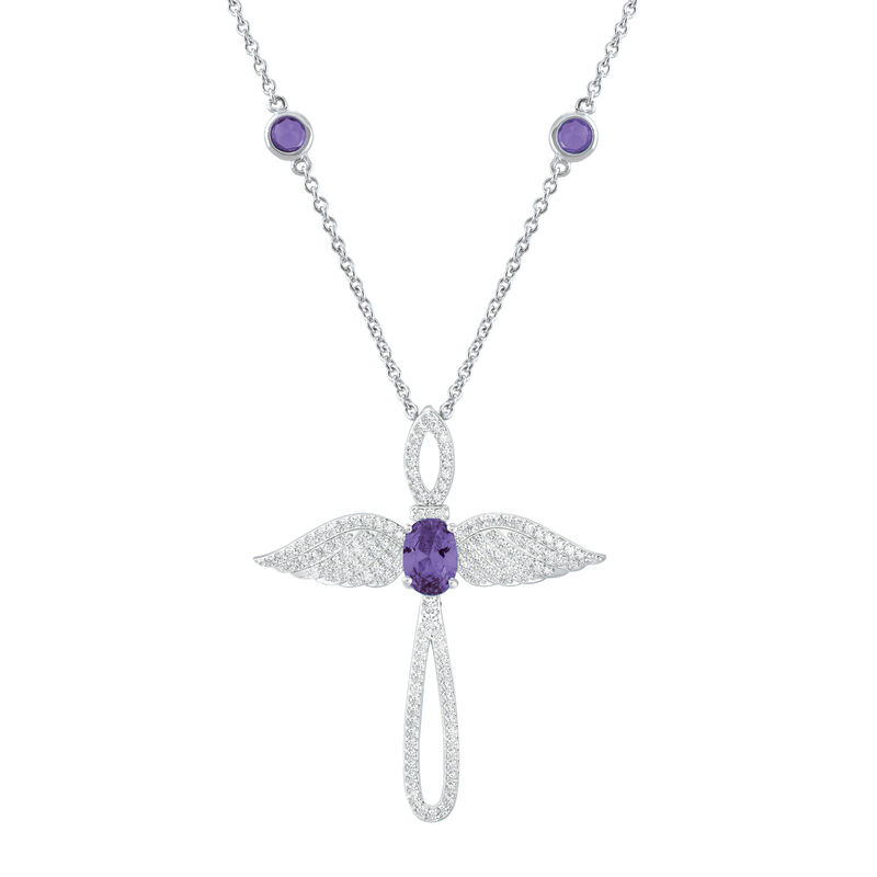 Touched by an Angel Birthstone Necklace 6842 0017 b february