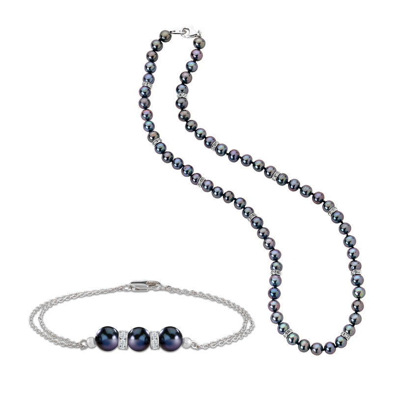 Midnight Spell Black Pearl Necklace with FREE Bracelet 1333 0311 a main