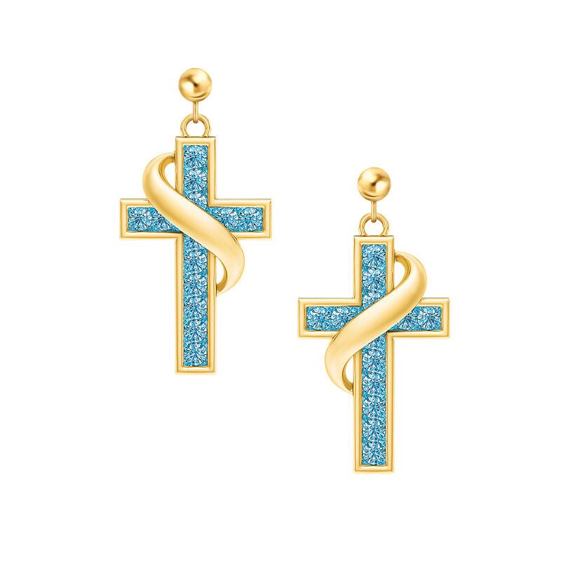 Birthstone Cross Earrings 5657 0021 c march