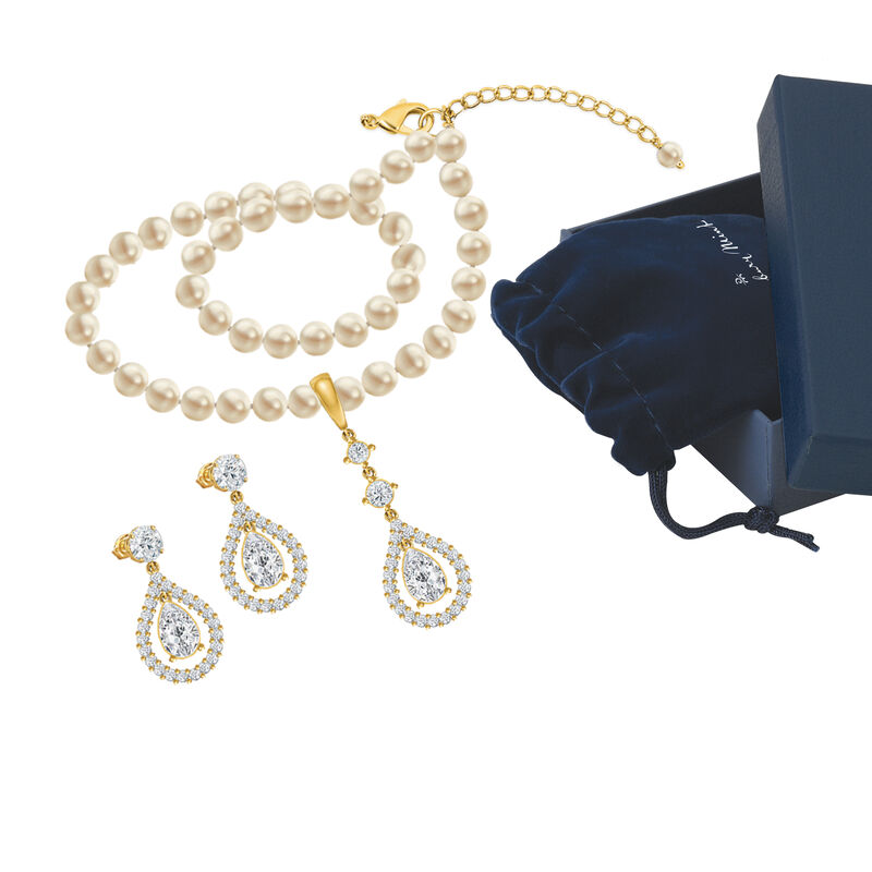 Loves Embrace Pearl Necklace Earring Set 6914 0010 g gift box