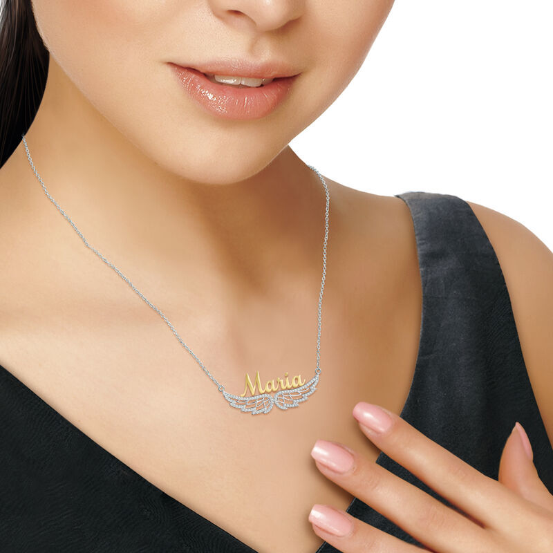 Personalized On Angel Wings Necklace 6820 001 3 4