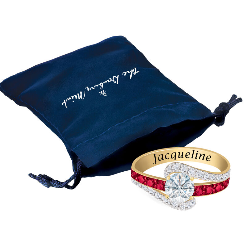Personalized Birthstone Splendor Ring 10385 0012 m gift pouch