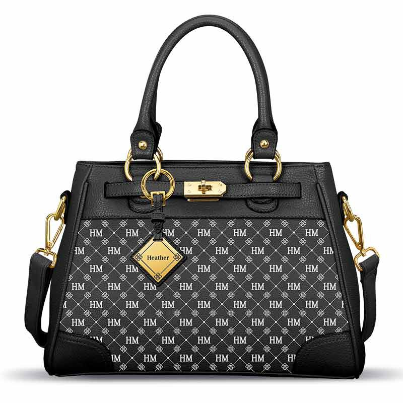 Personalized Initial Black Handbag 5878 001 6 1