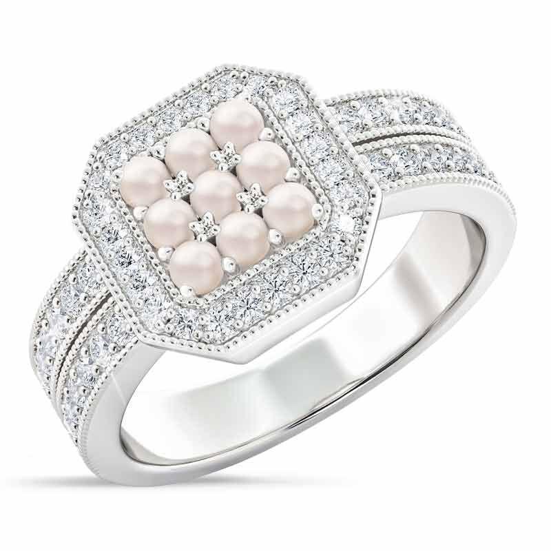 Flair  Square Personalized Birthstone  Diamond Ring 2306 001 5 6