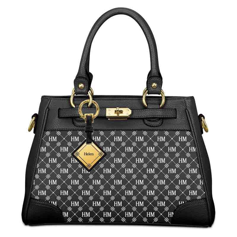 Personalized Initial Black Handbag 5878 001 6 2