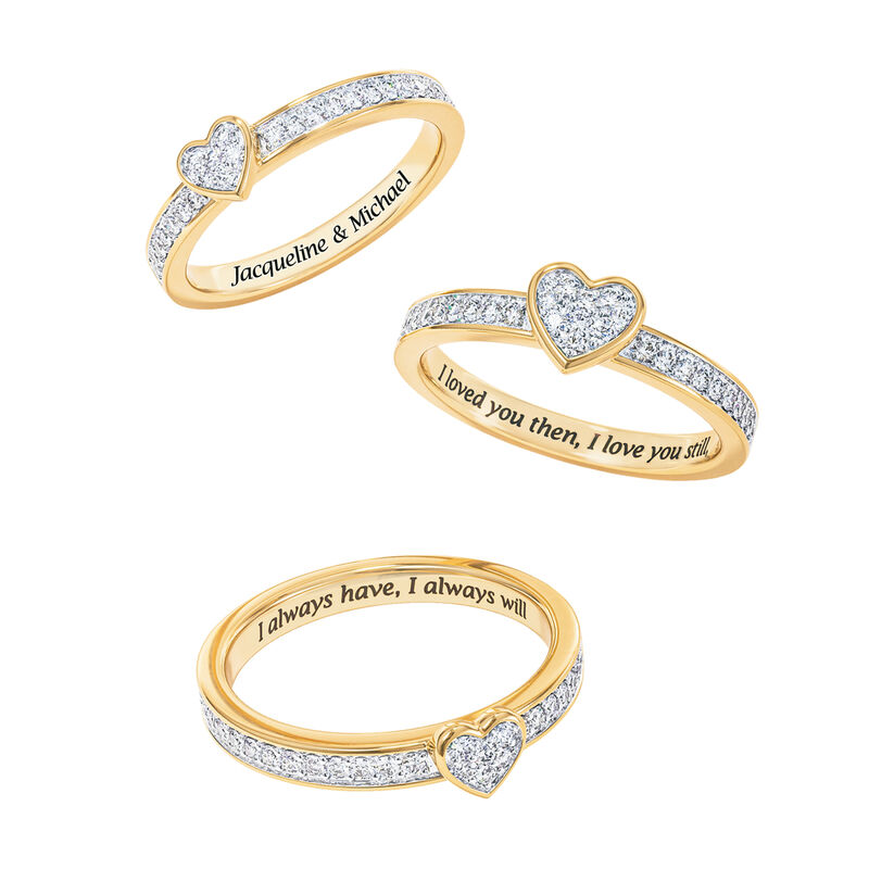 Love Everlasting Personalized Diamond Ring Set 10073 0019 c dispersed separated