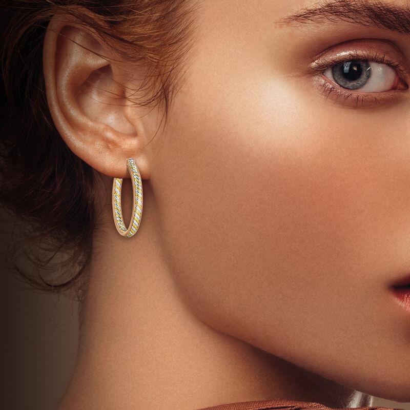 Copper Trinity Inside Out Hoop Earrings 6744 0016 m model