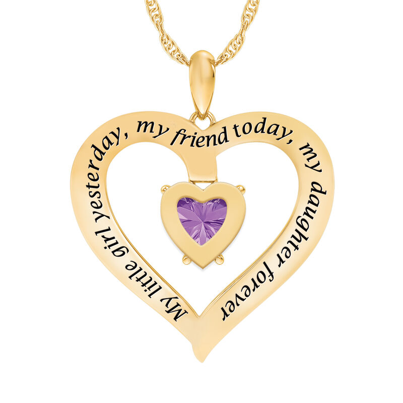 My Daughter I Love You Personalized Amethyst and Diamond Pendant 2701 0057 c back