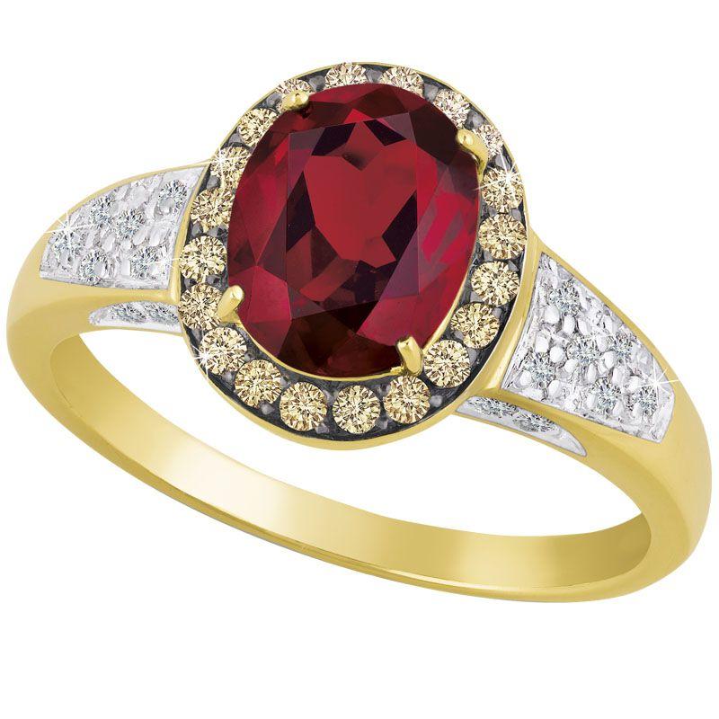 Crimson Majesty 14kt Garnet  Diamond Ring 1881 001 0 1