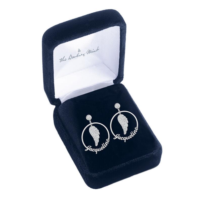 Angels Watching Over You Diamond Hoop Earrings 10165 0018 g gift box
