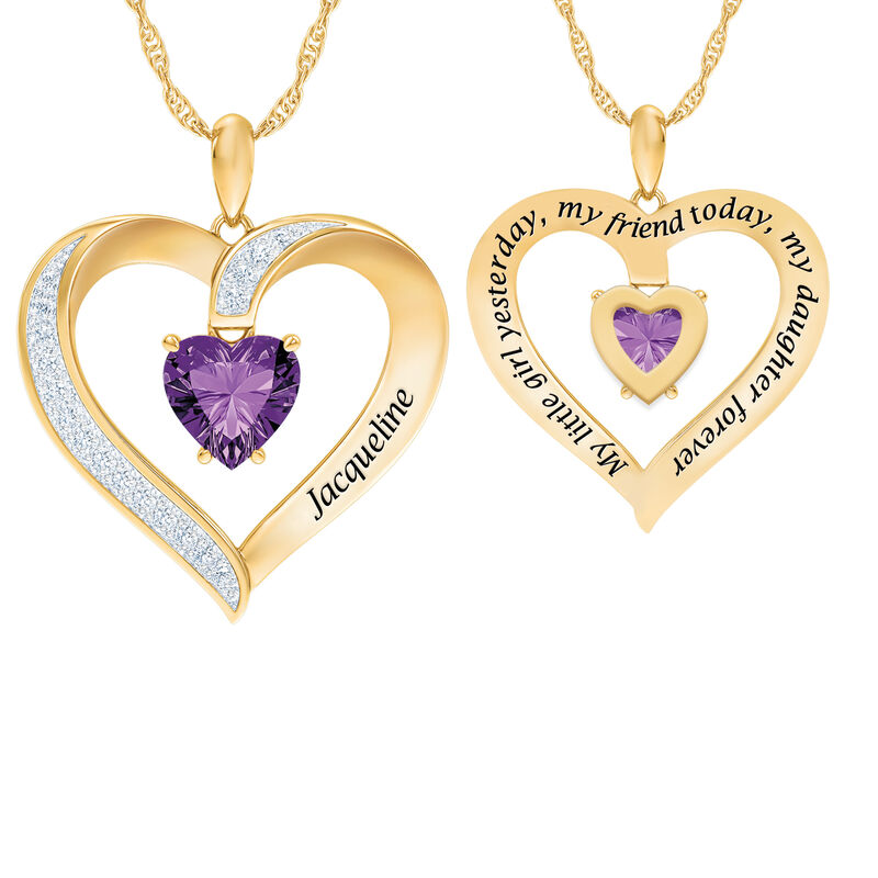 My Daughter I Love You Personalized Amethyst and Diamond Pendant 2701 0057 a main