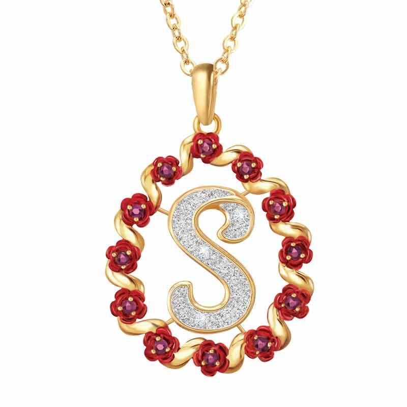 A Dozen Rubies Diamond Initial Pendant 6270 001 8 1