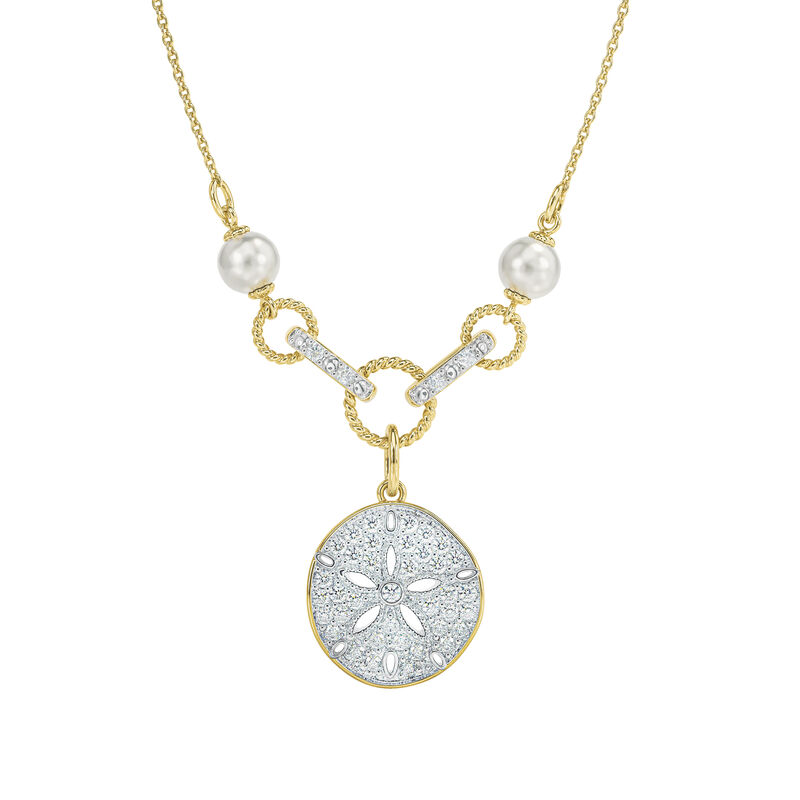 Legend of the Sand Dollar Diamond and Pearl Necklace 6790 0019 a main