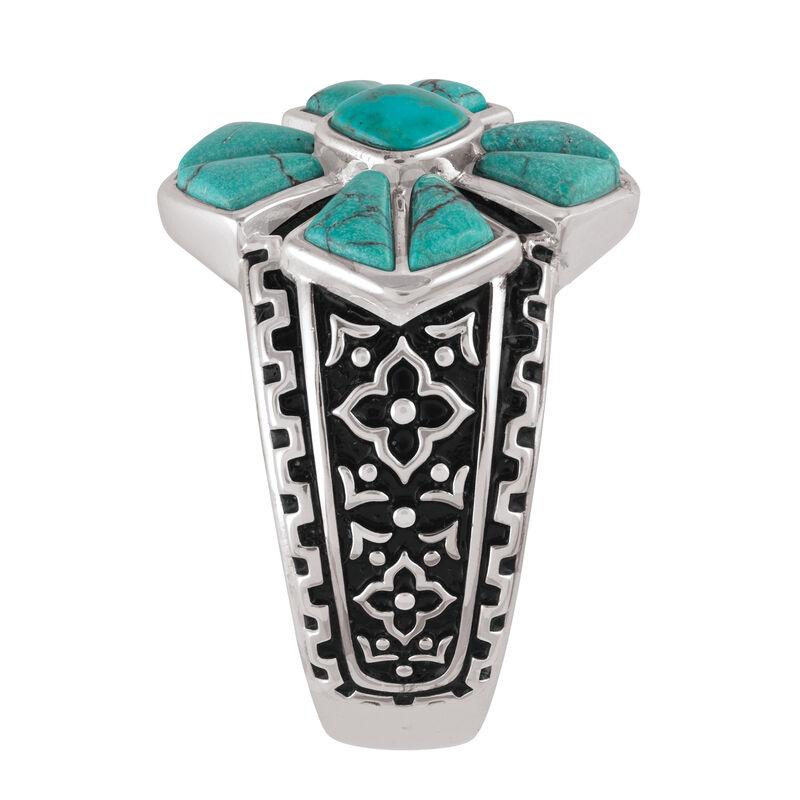 Mens Turquoise Cross Ring 10420 0019 b side