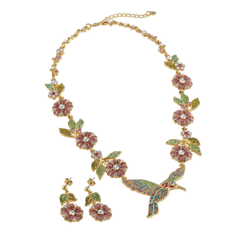 Soaring Splendor Hummingbird Neck and Earrings 10054 0012 b angle shot