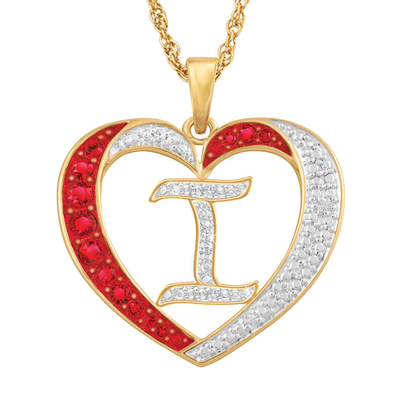 For My Daughter Diamond Initial Heart Pendant 10119 0015 a i initial