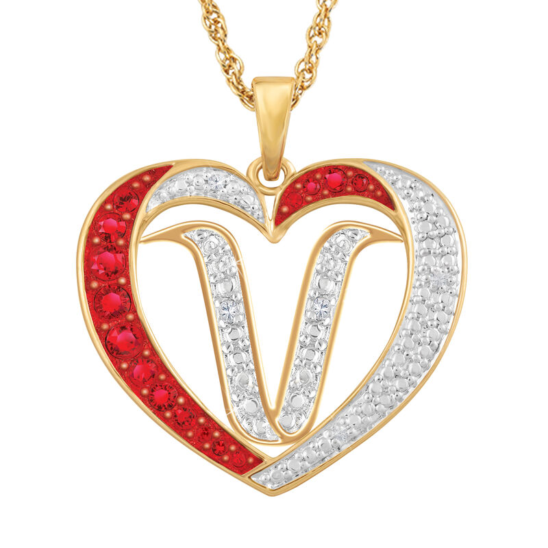 For My Daughter Diamond Initial Heart Pendant 10119 0015 a v initial