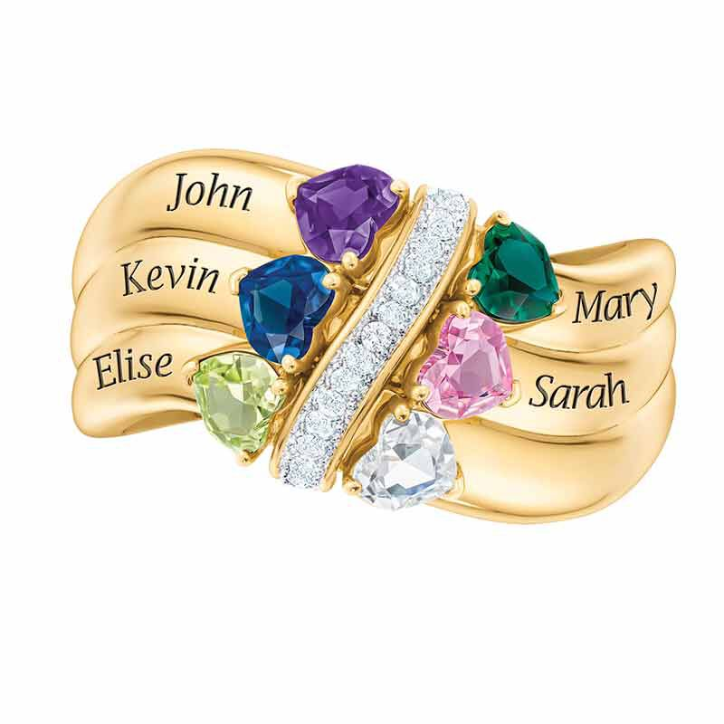 Many Hearts One Family Personalized Birthstone  Diamond Ring 6521 001 5 5