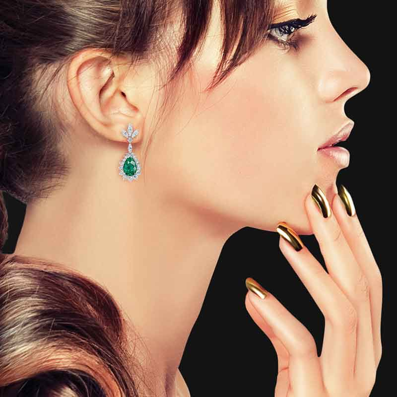 Emerald Allure Simulated Emerald and Diamond Earrings 6020 001 1 2