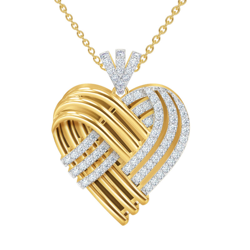 Woven Together Anniversary Heart Pendant 10134 0024 b front