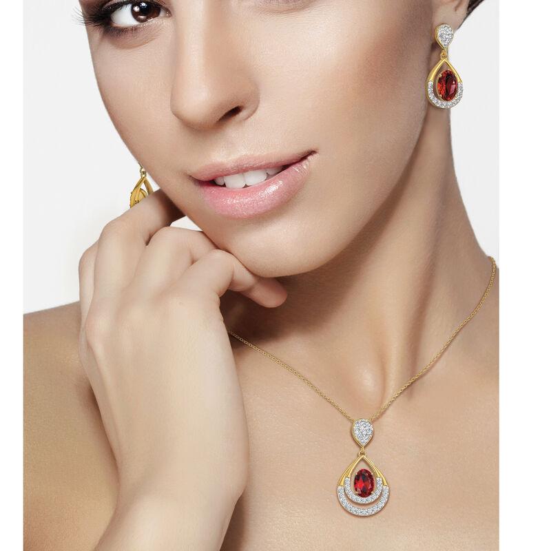 Birthstone Necklace Earring Set 6930 0010 n model