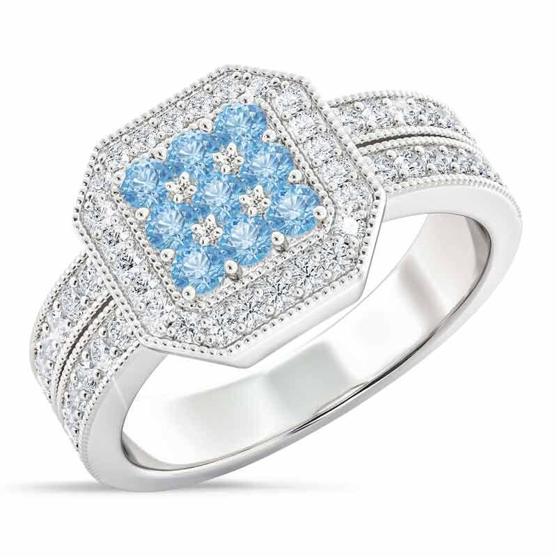 Flair  Square Personalized Birthstone  Diamond Ring 2306 001 5 12
