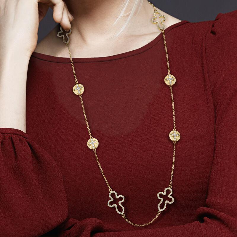Dazzling Faith Long Cross Necklace 10178 0013 m model