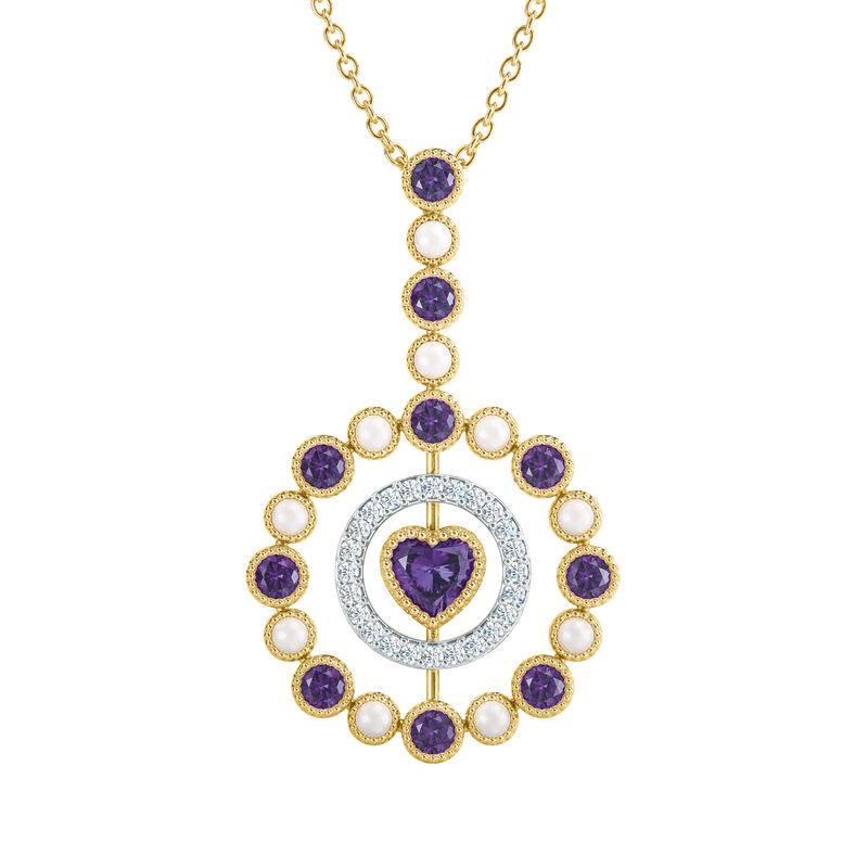 Love Embrace Birthstone Diamond Necklace 6928 0014 b february