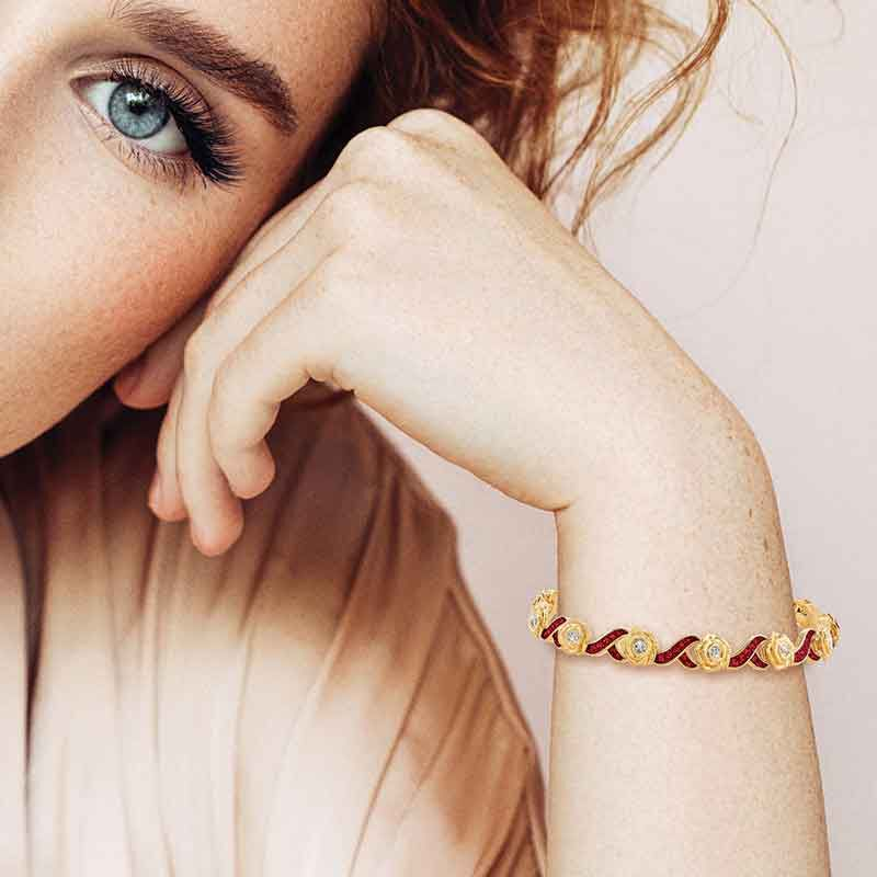 A Dozen Roses Birthstone  Diamond Bracelet 6684 001 8 9