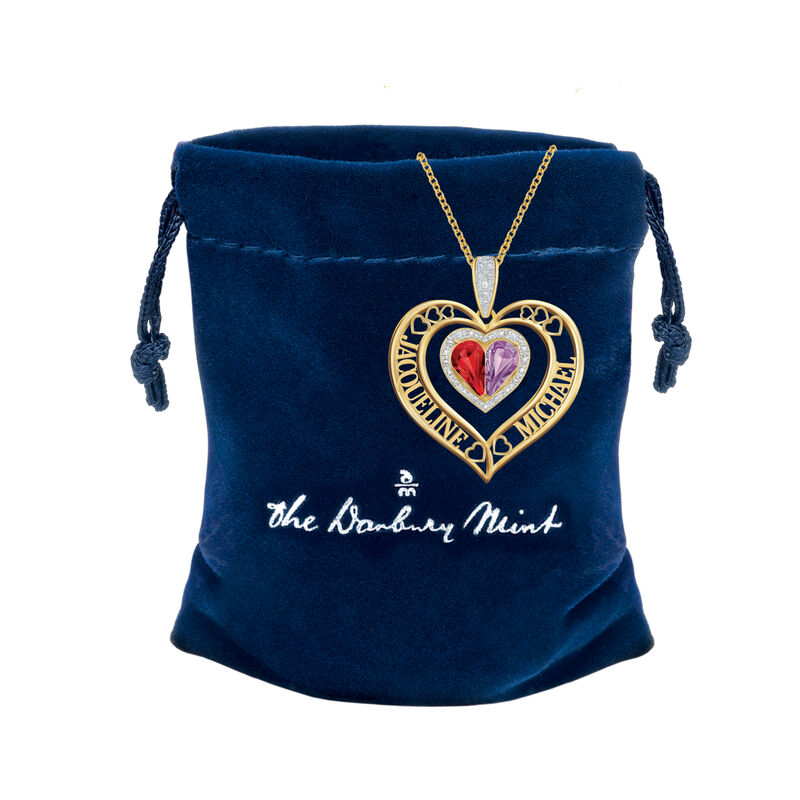 Joined in Love Birthstone Diamond Heart Pendant 10274 0016 g gift pouch