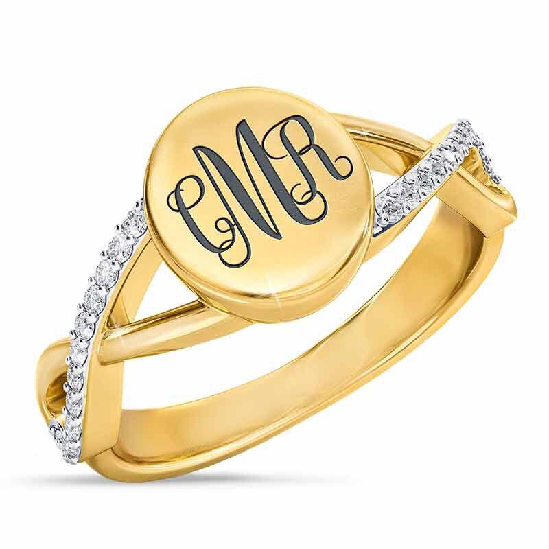 Personalized Diamond Signet Ring 6021 001 0 1