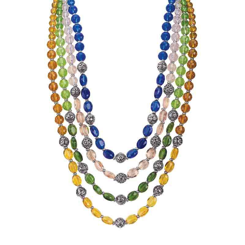 White /& Crystal Layered Jewelry Set