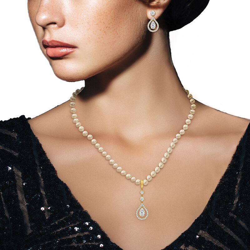 Loves Embrace Pearl Necklace Earring Set 6914 0010 m model