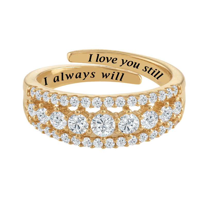 Our Love is Forever Diamonisse Adjustable Ring 6987 0012 d stright
