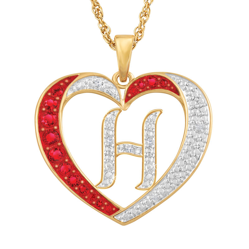For My Daughter Diamond Initial Heart Pendant 10119 0015 a h initial