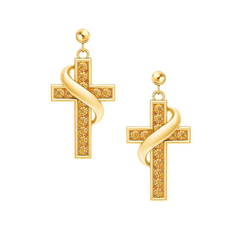 Birthstone Cross Earrings 5657 0021 k november