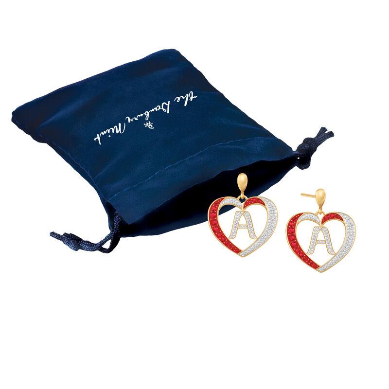 Diamond Initial Heart Earrings 2300 0094 zz gift pouch