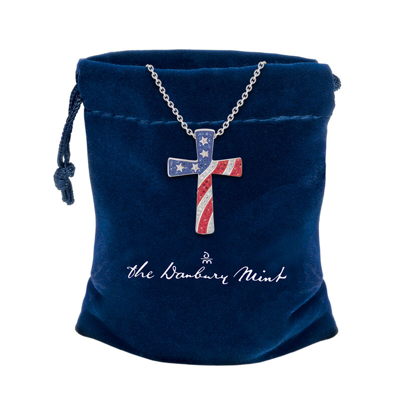 God Bless America Cross Pendant 10198 0019 g gift pouch