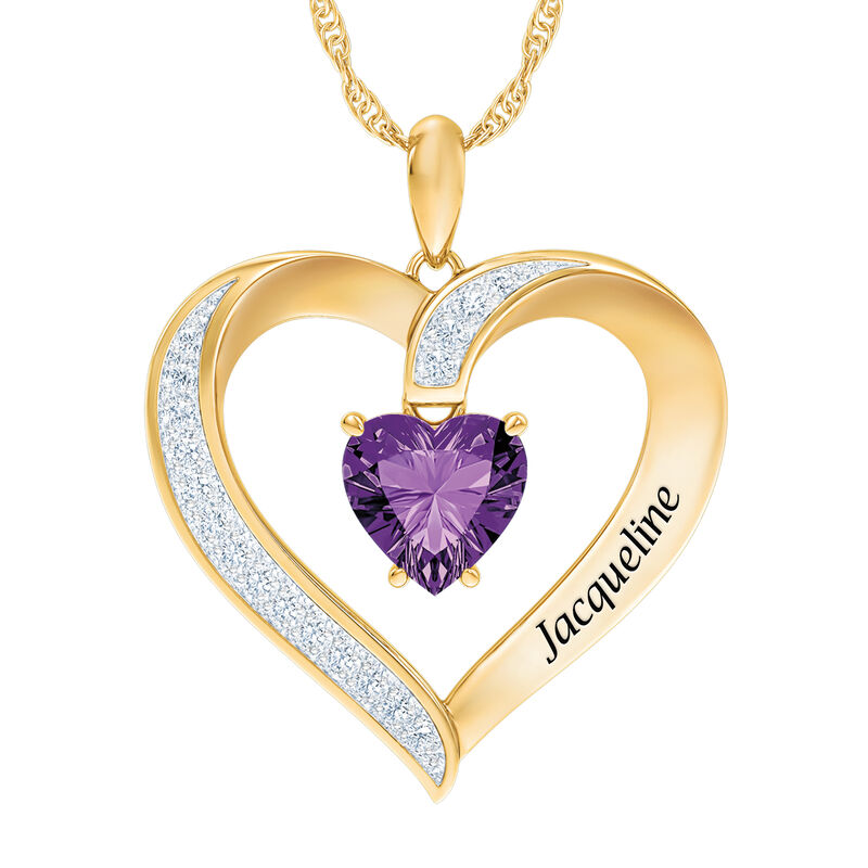 My Daughter I Love You Personalized Amethyst and Diamond Pendant 2701 0057 b front