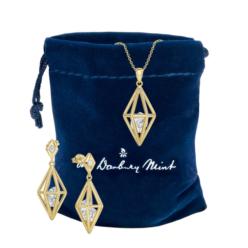 Elegantly Paired Caged Pendant Earring Set 6734 0018 g gift pouch