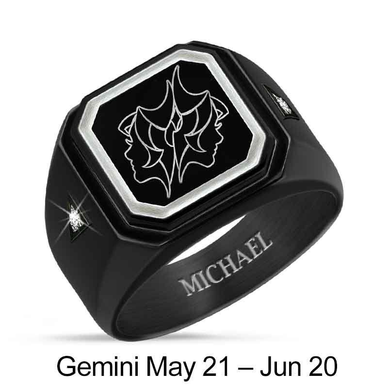 Personalized Zodiac Black Ice Ring 1438 001 8 6