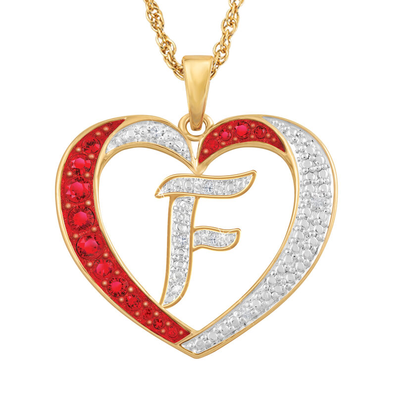 For My Daughter Diamond Initial Heart Pendant 10119 0015 a f initial