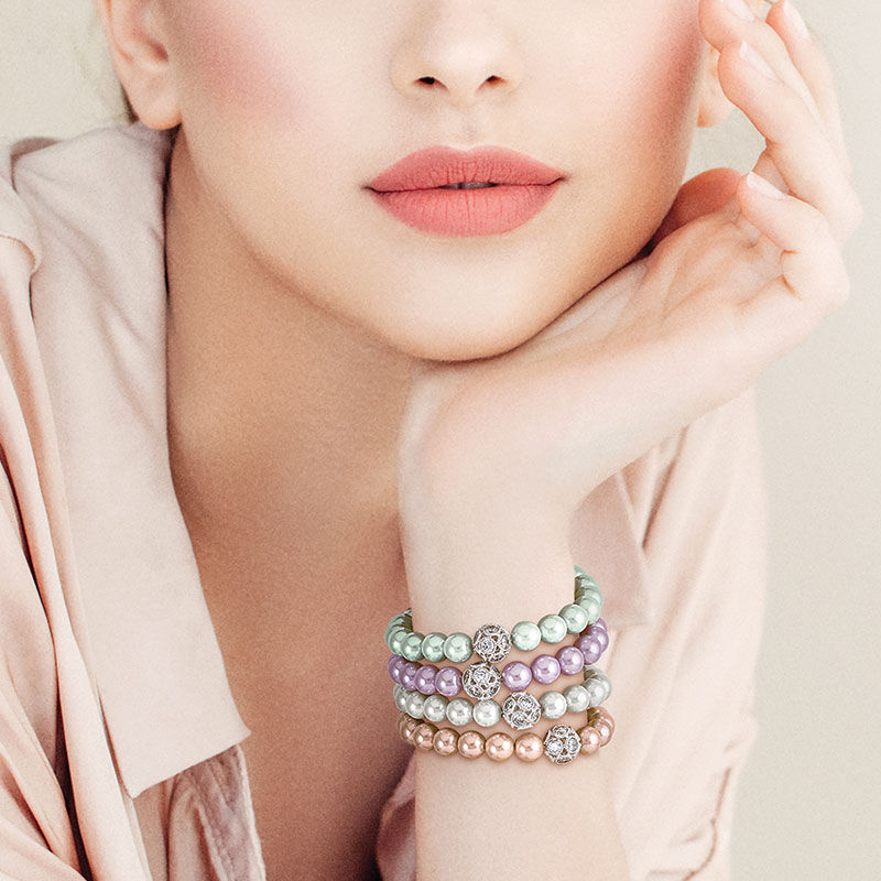 Pastel Perfection Shell Pearl Bracelet Set 6244 001 1 4