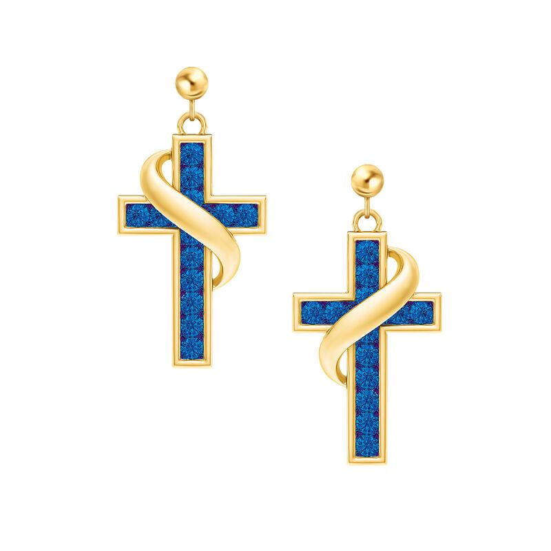 Birthstone Cross Earrings 5657 0021 i september