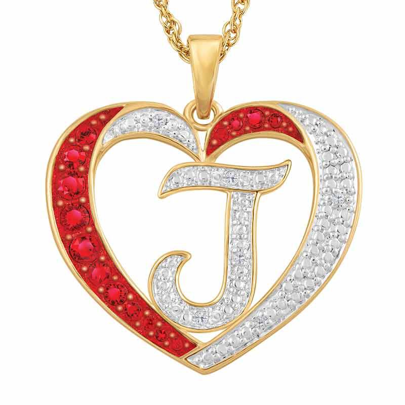 Personalized Diamond Initial Heart Pendant 2300 001 1 4
