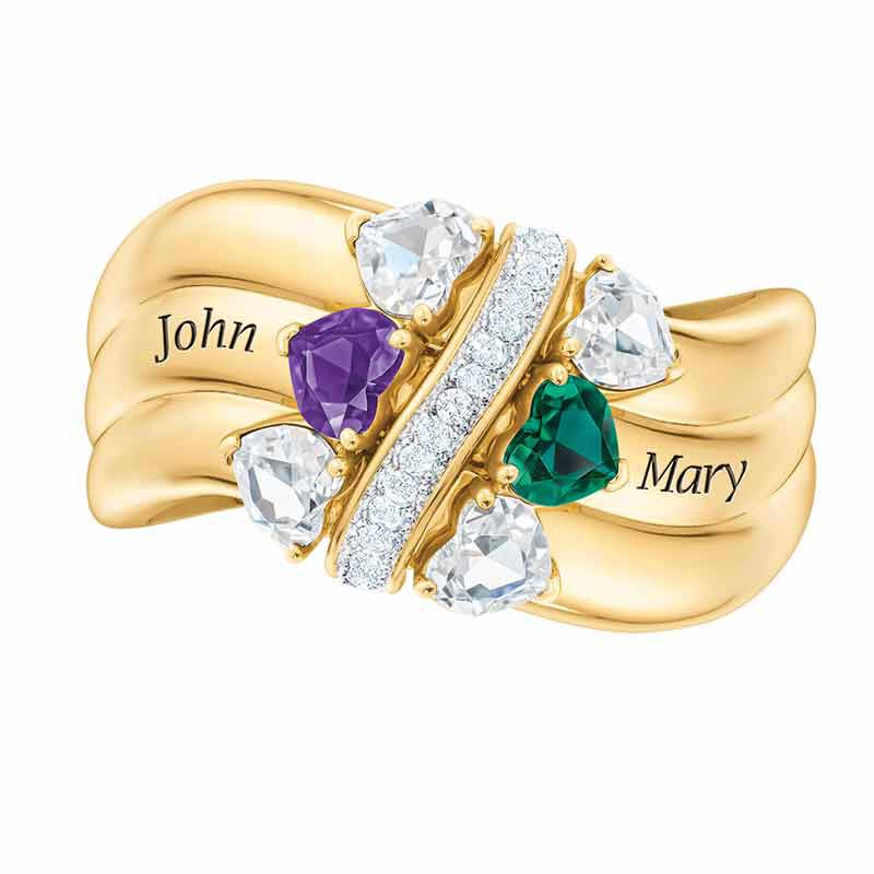 Many Hearts One Family Personalized Birthstone  Diamond Ring 6521 001 5 2